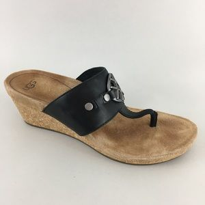 Ugg Cork Wedge Thong Sandals Black Leather  6.5